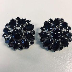Weiss Vintage Black Rhinestone Clip Earrings